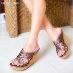 รองเท้าแฟชั่น Wedges CRAZY STEP Style แบบสวม ส้นเตารีด ดีไซน์หนังสาน สวยเก๋ เก็บหน้าเท้าเรียว หนังนิ่ม ส้นน้ำหนักเบา สูงประมาณ 3 นิ้ว ใส่สบาย แมทได้สวยทุกชุด