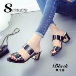 รองเท้าแฟชั่น ส้นสูง สวยหรู แบบสวม แต่งอะไหล่ทอง หนังเดินเงางาม เพิ่มความหรูด้วย ส้นแต่งเพชร ส้นตัดประมาณ 2 นิ้ว ใส่สบายแมทสวยได้ทุกชุด (A10)