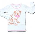 เสื้อ สีขาว-ชมพู ลายหมาผูกโบว์ 10T