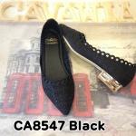 รองเท้าคัทชู ส้นเตี้ย สวยหรู ฉลุลายลูกไม้แต่งคลิสตัสด้านหน้า ทรงหัวแหลมเก็บเท้าเรียว เพิ่มความหรูด้วยส้นเคลือบเงา ใส่สบาย แมทสวยได้ทุกชุด (CA8547)