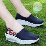 รองเท้าผ้าใบ Wedges shoes งานนำเข้า สไตล์เกาหลี วัสดุทำจากผ้าคุณภาพดี สกินลายสวยเก๋ สวมง่าย ใส่สบายมาก พื้นน้ำหนักเบา แมทเก๋ได้ทุกชุด สีกรม