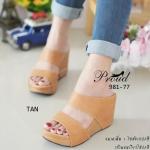 รองเท้าส้นเตารีด แบบสวม Wegged Shoes หน้าคาด 2 ตอน ทรงเก็บหน้าเท้า พื้นนุ่มมาก ผลิตจากวัสดุอย่างดี ใส่แล้วสวยปัง สูง 3.5 นิ้ว เสริมหน้า 1 นิ้ว