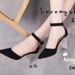 รองเท้าคัทชู ส้นสูง รัดข้อ ส้นใสมีมิติ สวยไฮโซสุดๆ หัวแหลมรับเท้าเรียว เปรี้ยวจี๊ด สูง 3.5 นิ้ว วัสดุนำเข้าอย่างดี สายปรับได้ รับประกันความงาม (17-5099)