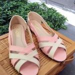 รองเท้าคัทชู ส้นแบน สวยเก๋ เปิดหน้าสายไขว้ สีพาสเทลน่ารัก แมทเก๋ได้ทุกชุด ใส่สบายๆ สูง 1 CM (C02-045)
