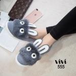 รองเท้าคัทชู ส้นแบน ทรง slip on สุดเก๋ ผ้ากำมะหยี่นิ่ม แต่งเฟอร์ตุ๊กตากระต่าย น่ารักเก๋มาก ใส่นิ่มสบายเท้า แมทชุดได้เก๋ไม่เหมือนใคร สีดำ เทา (555)