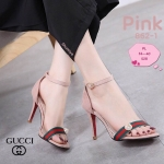 รองเท้าแฟชั่น ส้นสูง รัดข้อ แบบสวม สวยเก๋ แต่งแถบสีสไตล์กุชชี่ประดับมุก ส้นสูงประมาณ 3.5 นิ้ว ใส่สบาย แมทสวยได้ทุกชุด (862-1)