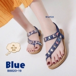 รองเท้าแตะแฟชั่น รัดส้น แบบสวมนิ้วโป้งสวยหรู คาดหน้าเฉียง แต่งอะไหล่คลิสตัลสีสดใส รัดส้นยางยืดนิ่ม พื้นนิ่ม ใส่สบาย แมทสวยได้ทุกวัน (B8820-19)