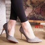 รองเท้าคัทชู ส้นสูง แต่งกลิสเตอร์เป็นประกายสีไล่โทนสวยหรู ส้นเคลือบเงา ทรงสวยเพรียว ส้นสูงประมาณ 4 นิ้ว ใส่ออกงาน สวยโดดเด่น แมทสวยได้ทุกชุด (FH-624)