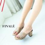 รองเท้าแฟชั่น ส้นสูง แบบสวม ดีไซน์หนังเส้นเก็บหน้าเท้าเรียบเก๋ หนังนิ่ม ทรงสวย ส้นตัดสูงประมาณ 3 นิ้ว ใส่สบาย แมทสวยได้ทุกชุด (FT608)