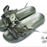 รองเท้าแตะแฟชั่น แบบสวม แต่งโบว์ซาตินสวยน่ารัก พื้นนิ่ม ใส่สบาย แมทสวยได้ทุกชุด