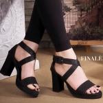รองเท้าแฟชั่น ส้นสูง สวยเก๋ หนัง PU อย่างดี ดีไซน์ไขว้หน้าเก็บหน้าเท้าเรียว รัดข้อ สาย ปรับระดับได้ ส้นตัดเดินง่าย สูงประมาณ 3.5 นิ้ว ใส่ง่าย แมทสวยได้ทุกชุด