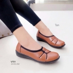 รองเท้าคัทชู ส้นเตี้ย สไตล์เพื่อสุขภาพ หนังนิ่ม ทรงหน้ามน งานสวยใส่สบาย เพื่อสุขภาพเท้า ใส่ขอบยางยืดนิ่มยืดหยุ่น เสริมพื้น 1 นิ้ว แมทเก๋ได้ทุกวัน สี แทน แดง (V701)