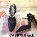 รองเท้าคัทชู ส้นสูง รัดข้อ แต่งอะไหล่ทองสวยหรู หนังนิ่มอย่างดี ทรงสวย เก็บเท้าเรียว ส้นตัดสูงประมาณ 4.5 นิ้ว แมทสวยได้ทุกชุด (CA8975)