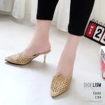 รองเท้าคัทชู เปิดส้น ส้นสูง ฉลุลายแต่งคลิสตัลสวยหรู ส้นเคลือบเงาดูดี หนังนิ่ม งานสวย ใส่สบาย ส้นสูง 3 นิ้ว แมทสวยได้ทุกชุด (134)