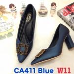 รองเท้าคัทชู ส้นสูง แต่งอะไหล่สวยหรู ส้นเหลี่ยมเก๋ หนังนิ่ม ทรงสวย ใส่สบาย ส้นสูงประมาณ 3 นิ้ว แมทสวยได้ทุกชุด (CA411)