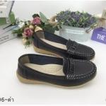 รองเท้าคัทชู ทรง loafer แต่งอะไหล่ด้านหน้าสวยเรียบเก๋ หนังนิ่ม พื้นบุนิ่ม ใส่สบาย แมทสวยได้ทุกชุด (N096)