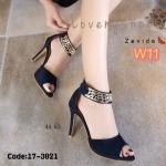 รองเท้าแฟชั่น ส้นสูง แบบสวม รัดข้อสวยหรู แต่งอะไหล่ทองลายเก๋ ซิปหลังใส่ง่าย ส้นสูงประมาณ 4.5 นิ้ว แมทสวยได้ทุกชุด (17-3021)
