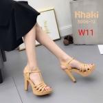 รองเท้าแฟชั่น ส้นสูง แบบสวม รัดส้น สวยเรียบเก๋ ทรงสวย หนังนิ่ม ส้นสูงประมาณ 4.5 นิ้ว เสริมหน้า ใส่สบาย แมทสวยได้ทุกชุด (3006-12)