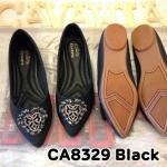 รองเท้าคัทชู ส้นเตี้ย สวยหรู หนังนิ่มอย่างดี แต่งอะไหล่ด้านหน้าสวยดูดี พื้นบุนิ่ม พื้นส้น ยางนิ่ม กันลื่น ใส่สบาย แมทสวยได้ทุกชุด (CA8329)