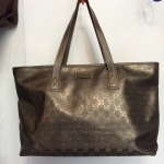 Gucci gg canvas shopping bag metallic