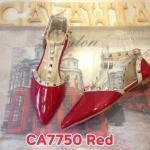 รองเท้าคัทชู ส้นแบน สวยหรู แต่งหมุดทองสไตล์วาเลนติโน เปิดด้านข้าง ใส่สบาย แมท สวยได้ทุกชุด (CA7750)