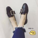 รองเท้าคัทชู ส้นเตี้ย หนังทรง Laofer สไตล์กุชชี่ วัสดุหนังประดับเข็มขัด งานเรียบหรูทรง สวย ใส่สวย ลุคเท่ห์ๆ แมทซ์ชุดได้ง่าย (R888-24)
