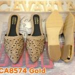 รองเท้าคัทชู เปิดส้น สวยหรู ทรงหัวแหลมเก็บหน้าเท้า แต่งกลิสเตอร์ฉลุลาย สวย ส้นแต่งขอบทอง ใส่สบาย แมทได้ทุกชุด (CA8574)