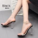 รองเท้าแฟชั่น ส้นสูง รัดข้อ แบบสวม คาดหน้าสายรัดข้อพลาสติกใสนิ่ม สวยอินเทรนด์ พื้นส้นใส ส้นสูงประมาณ 4 นิ้ว แมทสวยได้ทุกชุด (816-2)