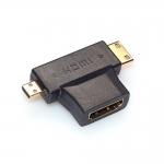 Mini 3 in 1 HDMI Female to Mini HDMI Male + 1.4 Female cable adapter converter for HDTV 1080P hdmi cables