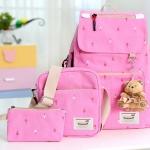 Girl's youth style backpack เซ็ต 3 ชิ้น แถมฟรีพวงกุญแจ (สีชมพู)