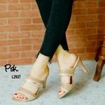 รองเท้าแฟชั่น ส้นสูง หนังคาดสีทูโทน เน้นสไตล์เปลือยเท้า ใส่ออกมาขาเรียวสวย แมทซ์ชุดได้ง่าย สูง 2.5 นิ้ว (L2937)