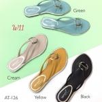 รองเท้าแตะแฟชั่น แบบหนีบ แต่งอะไหล่สวยเรียบเก๋ หนังนิ่ม ทรงสวย ใส่สบาย แมทสวยได้ทุกชุด (AT-126)