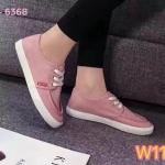 รองเท้าผ้าใบแฟชั่น เรียบเก๋น่ารักสไตล์เกาหลี แต่งเชือกผูกหน้า ใส่สบาย แมทสวยได้ทุกชุด (6368)
