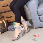 รองเท้าแฟชั่น ส้นสูง รัดข้อ หนังสักหราด แต่งส้นใสสวยเรียบหรู ทรงสวย หนังนิ่ม ส้นสูงประมาณ 3 นิ้ว ใส่สบาย แมทสวยได้ทุกชุด (G711125)