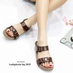 รองเท้าแตะแฟชั่น พื้นเพื่อสุขภาพ style fitflop แบบสวม งานสวยน่ารัก รุ่นคาด 2 ตอน ดีไซน์แบบแปะเข็มขัดปรับระดับได้ น้ำหนักเบา สวมใส่ สบาย ได้ทุกวัน สีดำ น้ำตาล แดง (L2516)