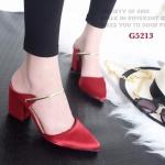 รองเท้าคัทชู เปิดส้น ผ้าซาตินเงา แต่งสายคาดเล็กสูง 3 นิ้ว น้ำหนักเบา ใส่ง่าย แมทกับชุดไหนก็เริ่ด งานขายดีการันตีความสวย สี ดำ แดง แอพริคอท (G5213)