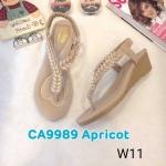 รองเท้าแฟชั่น ส้นเตารีด รัดส้น แบบหนีบ แต่งคลิสตัลสวยหรู หนังนิ่ม พื้นนิ่ม ทรงสวย รัดส้นยางยืดนิ่ม ใส่สบาย แมทสวยได้ทุกชุด (CA9989)