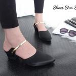 รองเท้าคัทชู เปิดส้น สวยหรู ผ้าซาตินเงา แต่งสายคาดทอง เรียบหรูดูดี สูง 2 นิ้ว น้ำหนัก เบา ใส่ง่าย แมทกับชุดไหนก็สวย สีดำ แดง ตาล