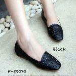 รองเท้าคัทชู ส้นแบน หนังนิ่มฉลุลายสวยเก๋ ทรงหัวตัดไม่บีบเท้า ทรงสวย ใส่สบาย แมทเก๋ได้ทุกชุด สีดำ น้ำตาล เทา ขาว (F-59070)