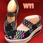 รองเท้าเพื่อสุขภาพ ยางสาน ยางอย่างดียืดหยุ่นกระชับเท้า แต่งสีสลับสวยเก๋ เสริมส้น ประมาณ 2 นิ้ว ใส่สบาย แมทได้ทุกชุด ใส่ได้ทุกวัน