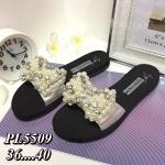รองเท้าแตะแฟชั่น แบบสวมสวยหรูหราน่ารัก แต่งโบว์มุกเพชร วัสดุอย่างดี ใส่สบาย แมทชุดเก๋ได้ทุกวัน (PL5509)