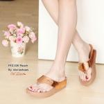รองเท้าแตะ style fitflop หูหนีบ สวยเก๋ สายคาดโทนเมทัลลิคเงา พื้นนุ่ม ซอฟคอมฟอต รับน้ำหนักดี ใส่เดินสบาย งานเป๊ะ แมทสวยได้ทุกวัน สูง 2 นิ้ว สีดำ น้ำตาล ทอง เทา เงิน พีช (PF2108)