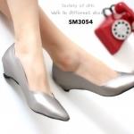 รองเท้าคัทชู ส้นเตี้ย สไตล์ ZARA สวยเก๋ ขอบหยัก ทรงหัวแหลม หน้าวี ใส่เท้าดูเรียวสวย ใส่ง่าย ใส่สบาย แมทได้ทุกชุด (SM3054)
