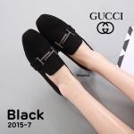 รองเท้าคัทชู ส้นแบน เรียบหรูดูดี สไตล์กุชชี่ หนังสักหราดสวยเพิ่มความเก๋ด้วยอะไหล่ สไตล์แบรนด์ด้านหน้า ทรงสวยใส่แล้วเท้าเรียว ใส่สบาย แมทชุดไหนก็สวยไฮโซ (2015-7)