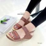 """รองเท้าแฟชั่น ส้นเตารีด เพื่อสุขภาพ รัดส้นหนังนิ่ม แบบสวมแต่งลายเก๋ พิเศษ ที่พื้นนุ่มมีปุ่มนวด ใส่สบายเหมือนนวดเท้า สูง 2"""" สีดำ ครีม น้ำตาล"""