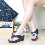 รองเท้าแฟชั่น ส้นเตารีด แบบหนีบ แต่งอะไหล่ผีเสื้อสวยน่ารัก ทรงสวย ใส่สบาย ใส่เที่ยว แมทสวยได้ทุกชุด (PU6049)