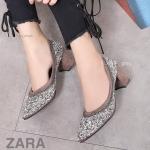 รองเท้าคัทชู ส้นสูง แต่งคลิสตัลเพชรสวยหรู เพิ่มความเก๋ด้วยโซ่ สไตล์ ZARA ทรงสวย หนังนิ่ม ส้นตัดสูงประมาณ 3 นิ้ว ใส่สบาย แมทสวยได้ทุกชุด (B108-1)