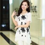 [พรีออเดอร์] เสื้้อแฟชั่นเกาหลีใหม่ แขนสั้น สำหรับผู้หญิงไซส์ใหญ่ - [Preorder] New Korean Fashion Shirt Short-Sleeved for Large Size Woman
