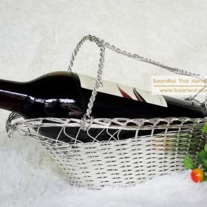 ตะกร้าใส่ขวดไวน์ สานจากโลหะชุบสีเงิน