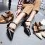 รองเท้าคัทชู ส้นเตี้ย รัดส้น แต่งเข็มขัดสวยเก๋ ทรงสวย หนังนิ่ม ใส่สบาย ส้นสูงประมาณ 2.5 นิ้ว แมทสวยได้ทุกชุด (8134-6) thumbnail 3